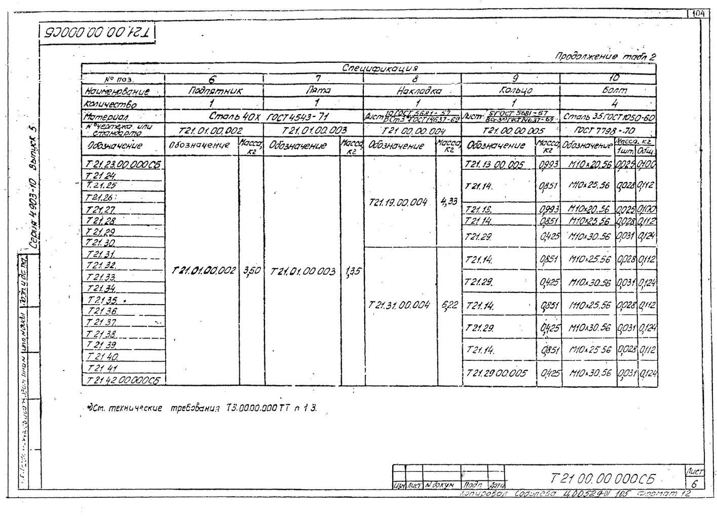 Опоры шариковые Т21 серия 4.903-10 выпуск 5 стр.6
