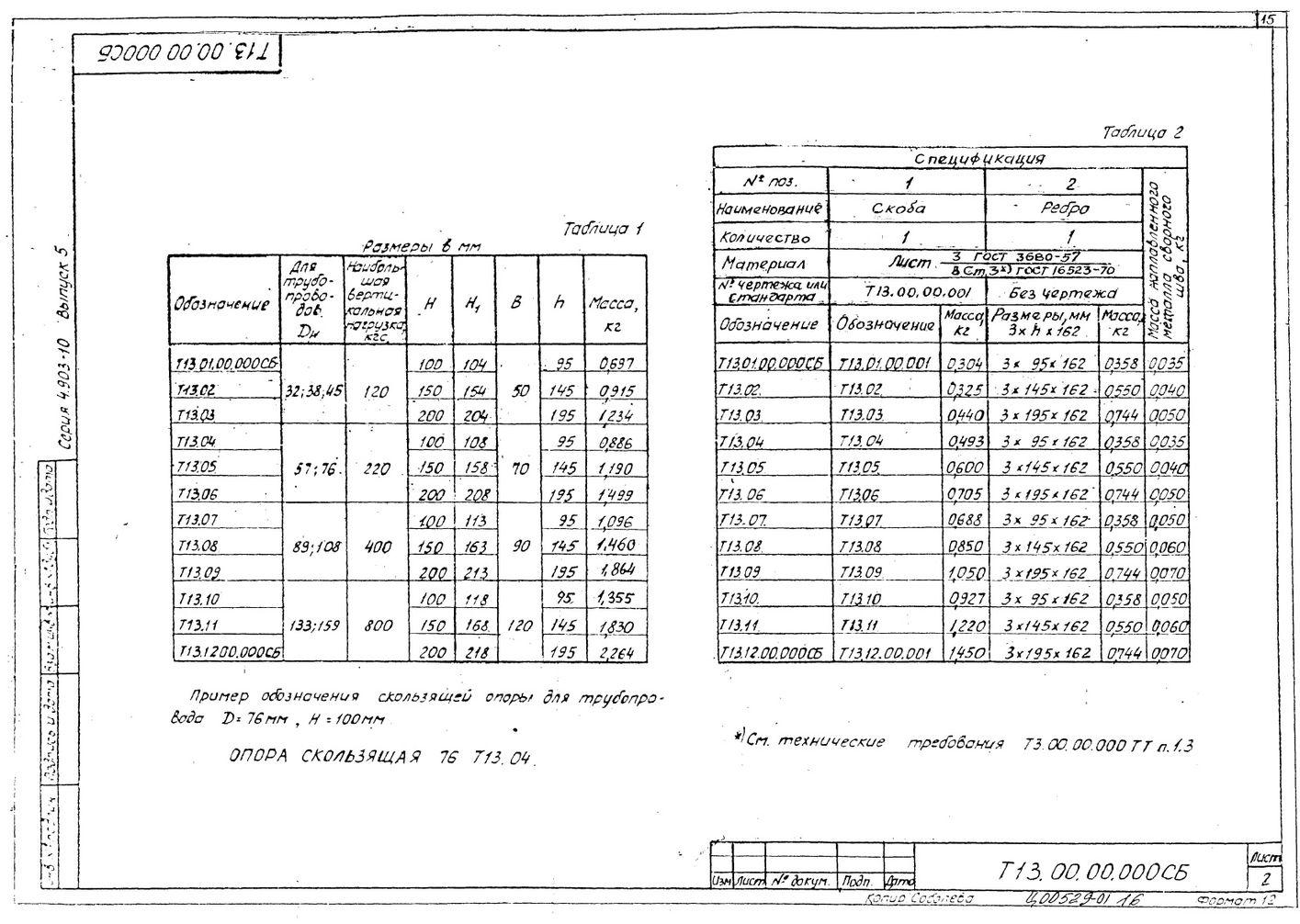Опоры скользящие Т13 серия 4.903-10 выпуск 5 стр.2