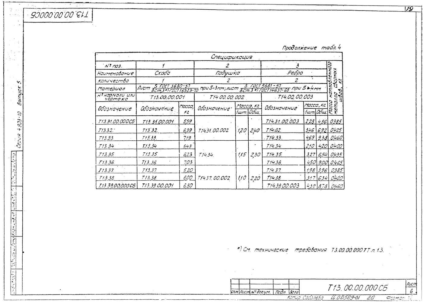Опоры скользящие Т13 серия 4.903-10 выпуск 5 стр.6