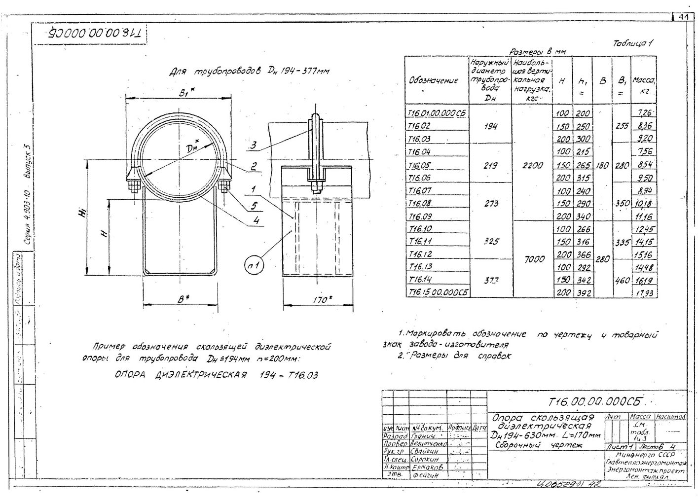 Опоры скользящие диэлектрические Т16 серия 4.903-10 выпуск 5 стр.1