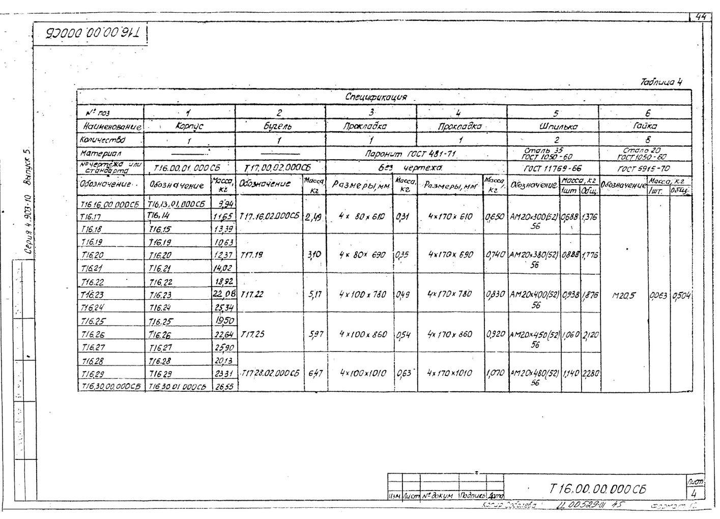 Опоры скользящие диэлектрические Т16 серия 4.903-10 выпуск 5 стр.4