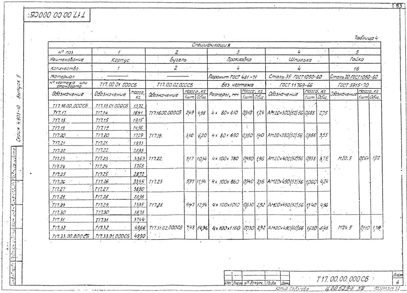 Опоры скользящие диэлектрические Т17 серия 4.903-10 выпуск 5 стр.6
