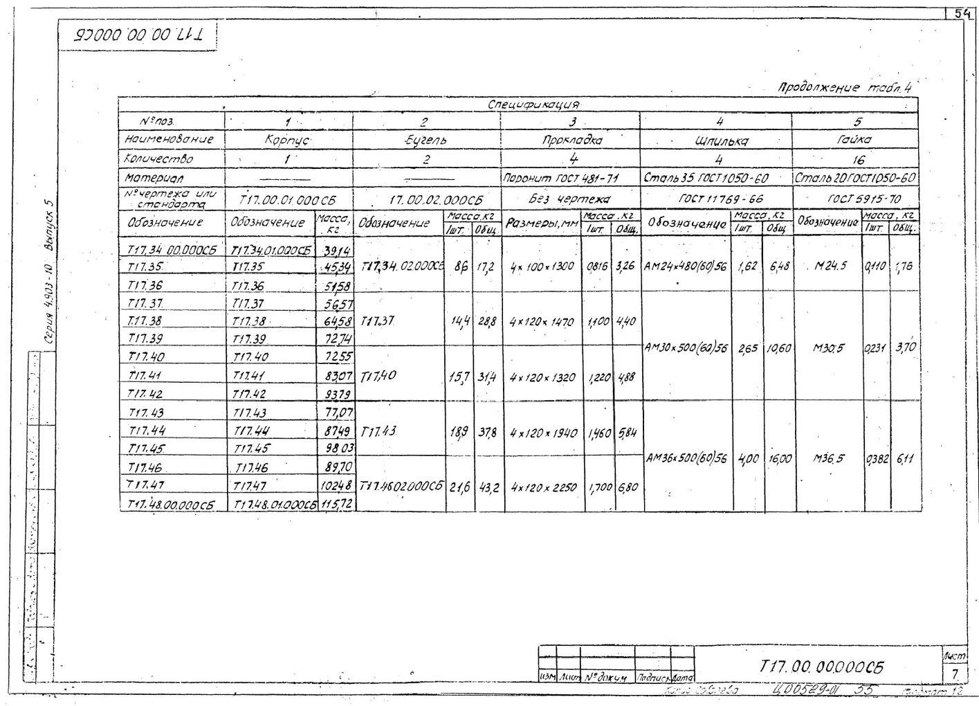 Опоры скользящие диэлектрические Т17 серия 4.903-10 выпуск 5 стр.7