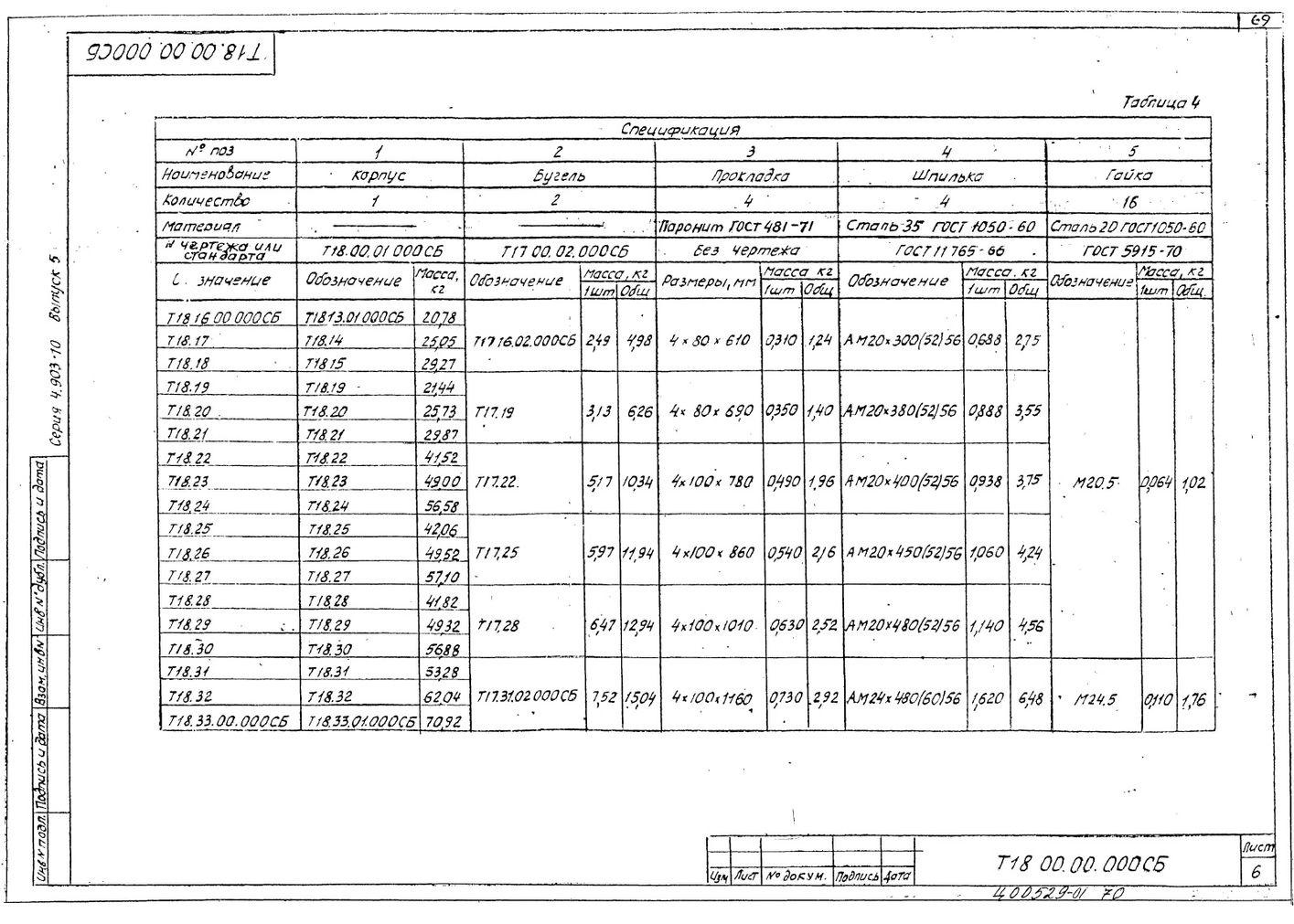 Опоры скользящие диэлектрические Т18 серия 4.903-10 вып.5 стр.6