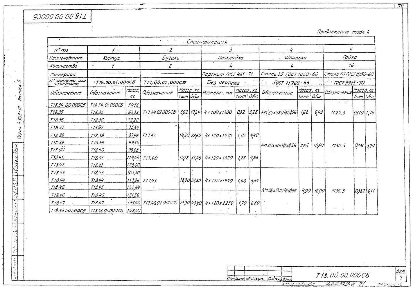 Опоры скользящие диэлектрические Т18 серия 4.903-10 вып.5 стр.7