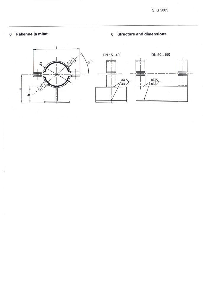 SFS 5885 Опоры для полипропиленовых и армированных термопластичных труб (FRP) DN 15-150