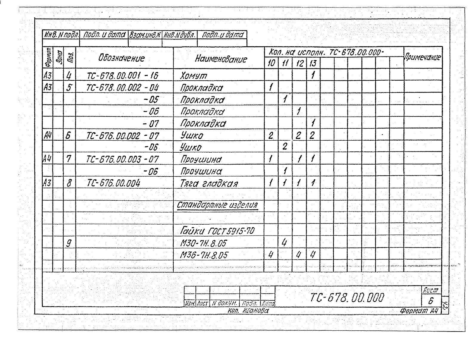 Подвески жесткие Дн 273-630 ТС-678 с.5.903-13 вып.6-95 стр.9
