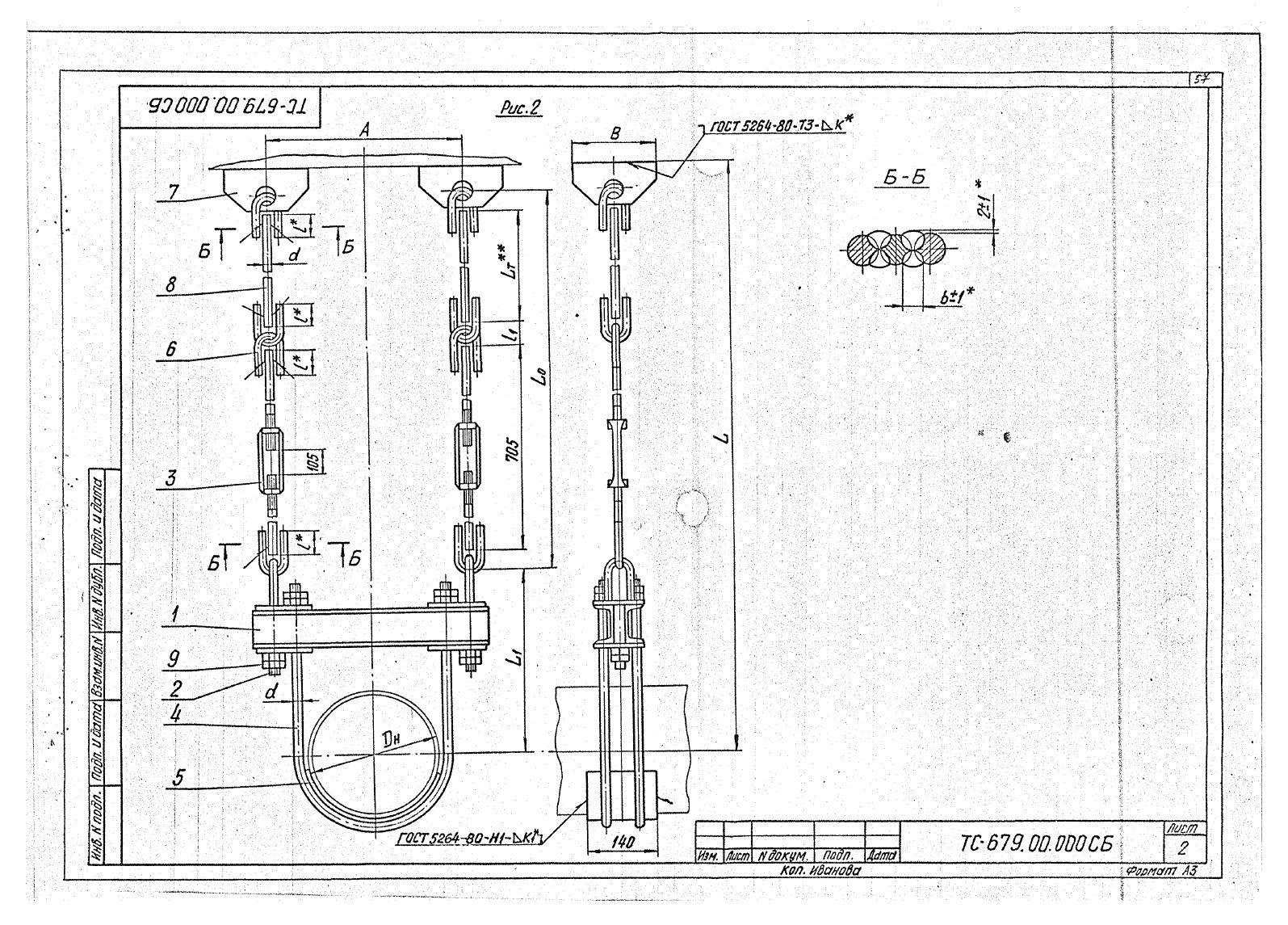 Подвески жесткие Дн 426-630 ТС-679 с.5.903-13 вып.6-95 стр.2