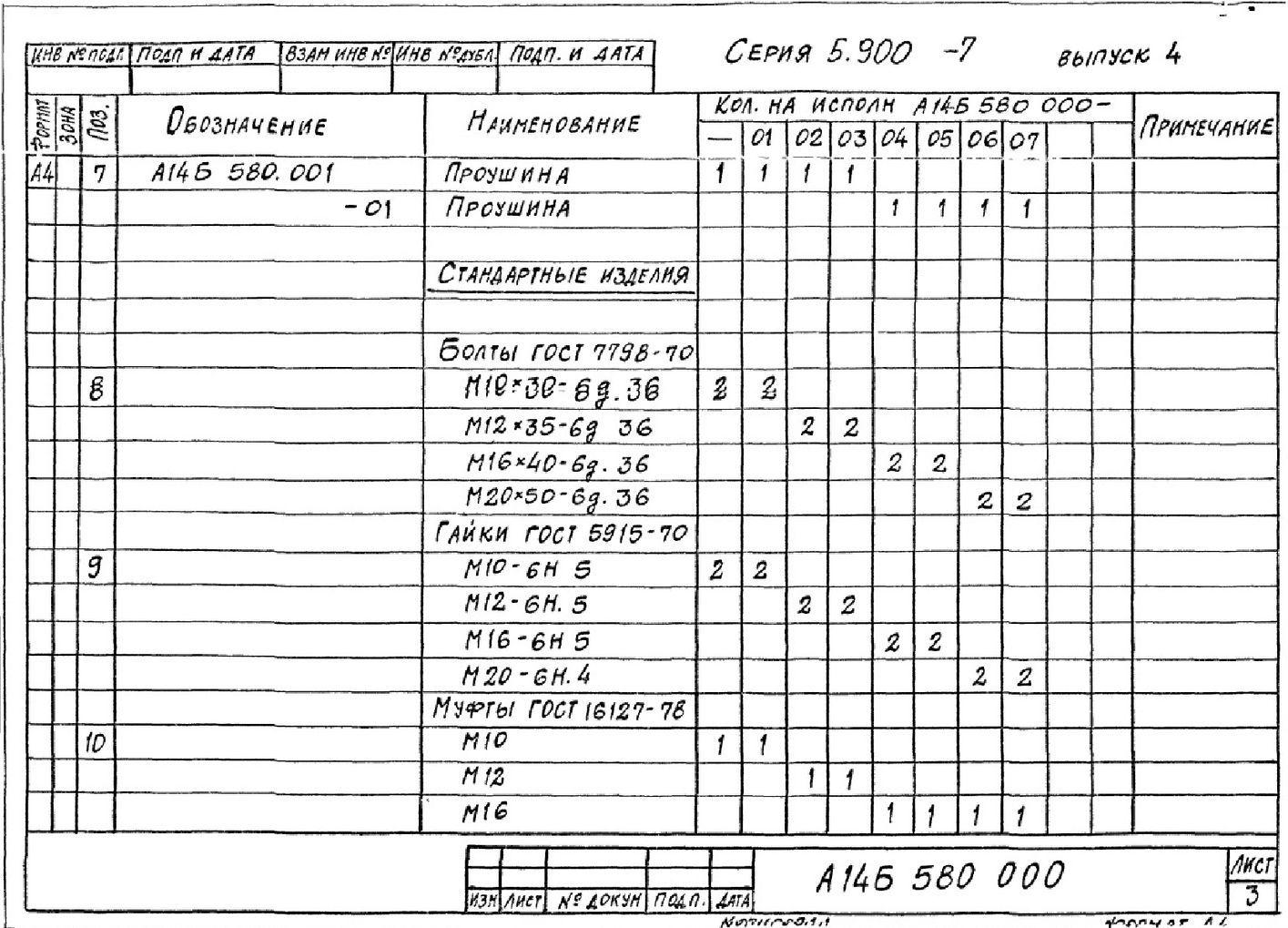 Опора подвесная А14Б 580.000 СБ Серия 5.900-7 выпуск 4 стр.3
