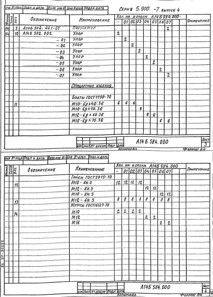 Опора подвесная двухрядная А14Б 585.000 СБ Серия 5.900-7 выпуск 4 стр.3
