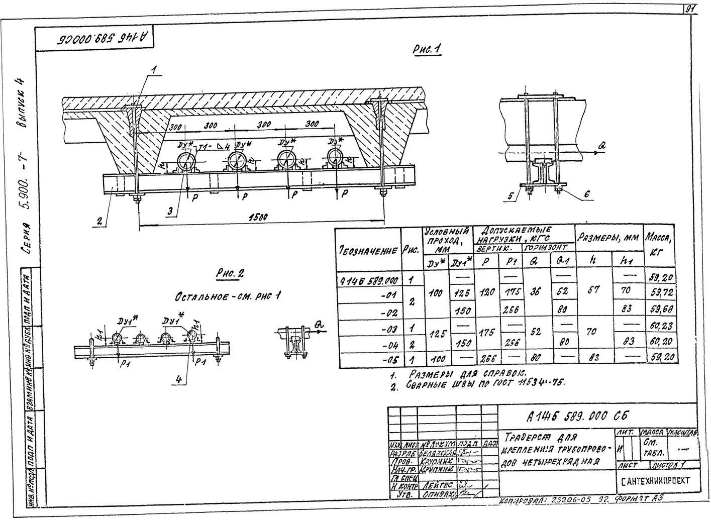 Траверса для крепления трубопроводов четырехрядная А14Б 589.000 СБ Серия 5.900-7 выпуск 4 стр.1