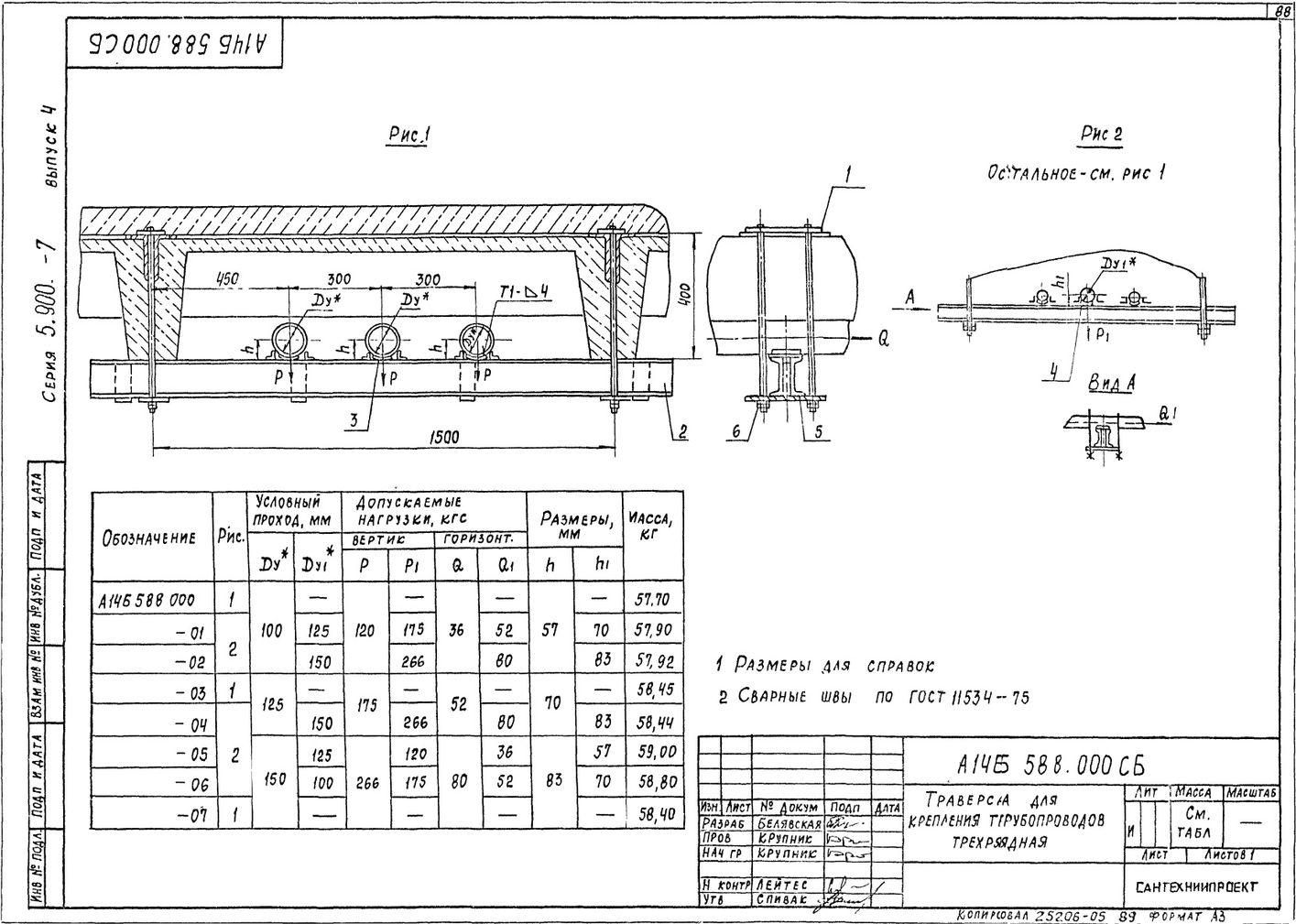 Траверса для крепления трубопроводов трехрядная А14Б 588.000 СБ Серия 5.900-7 выпуск 4 стр.1