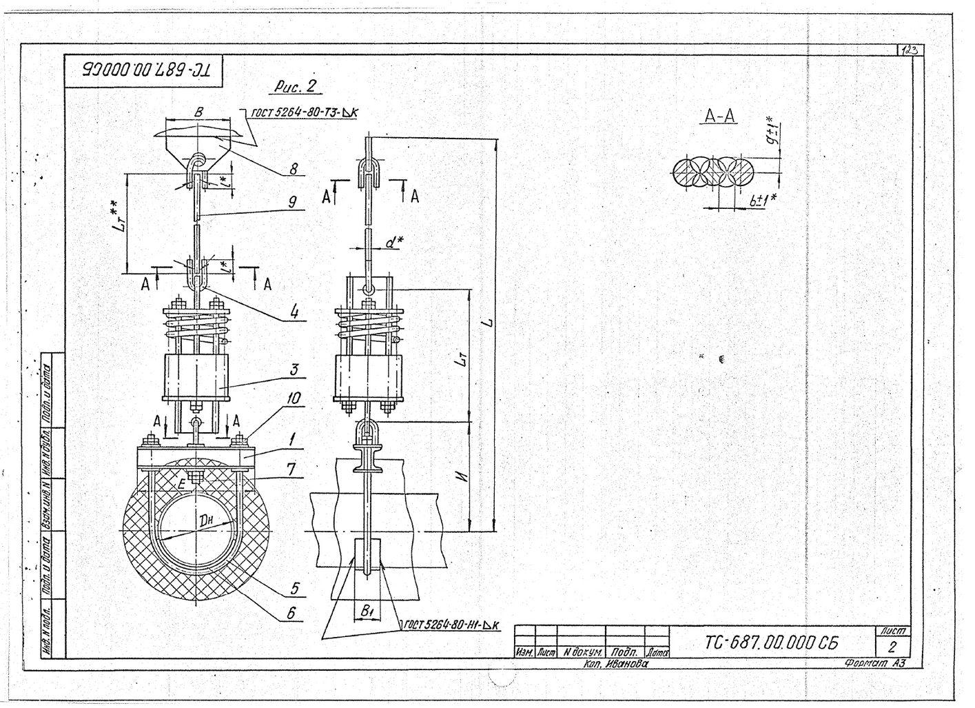 Подвески пружинные для горизонтальных трубопроводов Дн 159-426 мм ТС-687.00.000 СБ серия 5.903-13 выпуск 6-95 стр.2