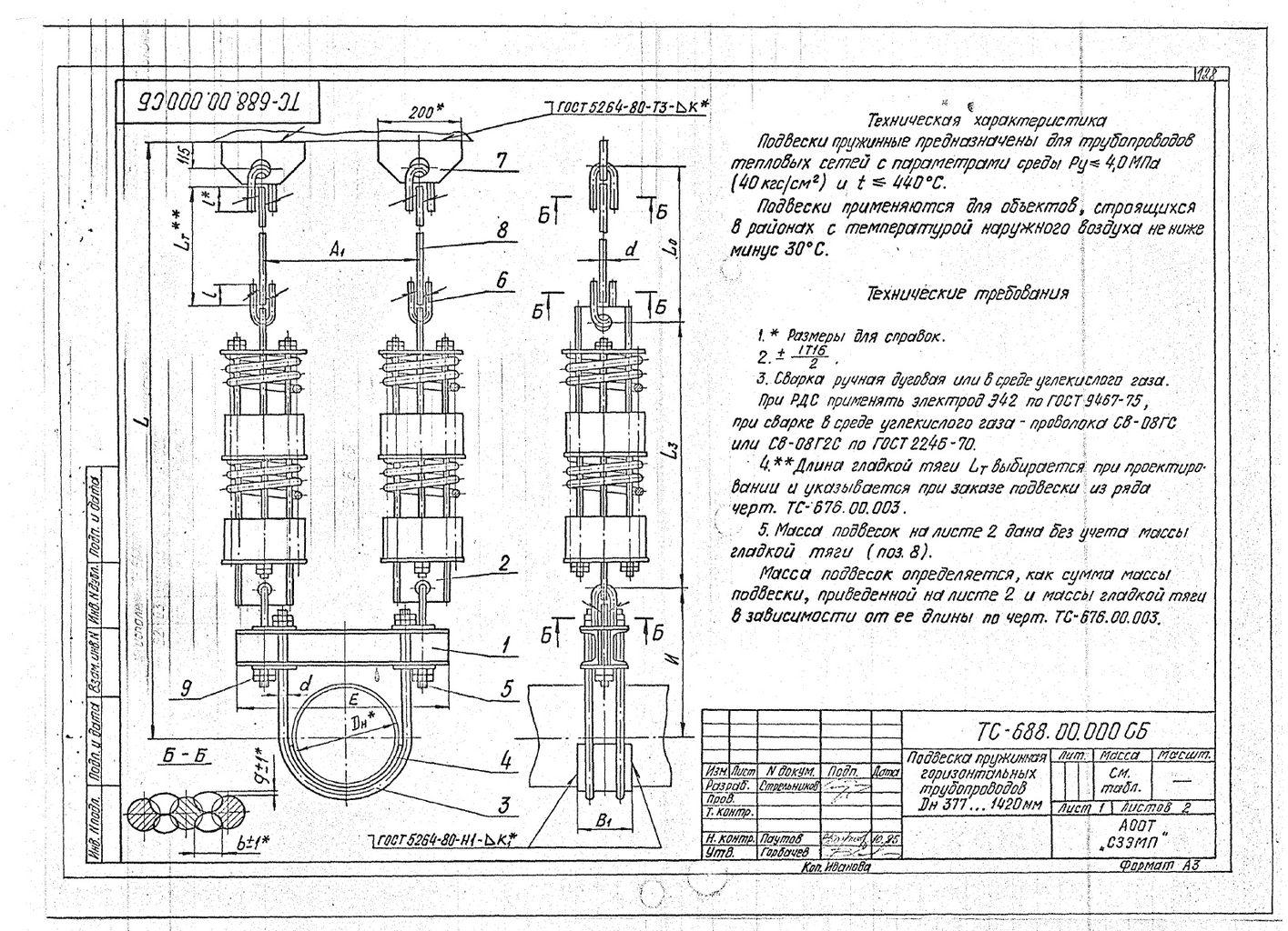 Подвески пружинные для горизонтальных трубопроводов Дн 377-1420 мм ТС-688.00.000 СБ серия 5.903-13 выпуск 6-95 стр.1
