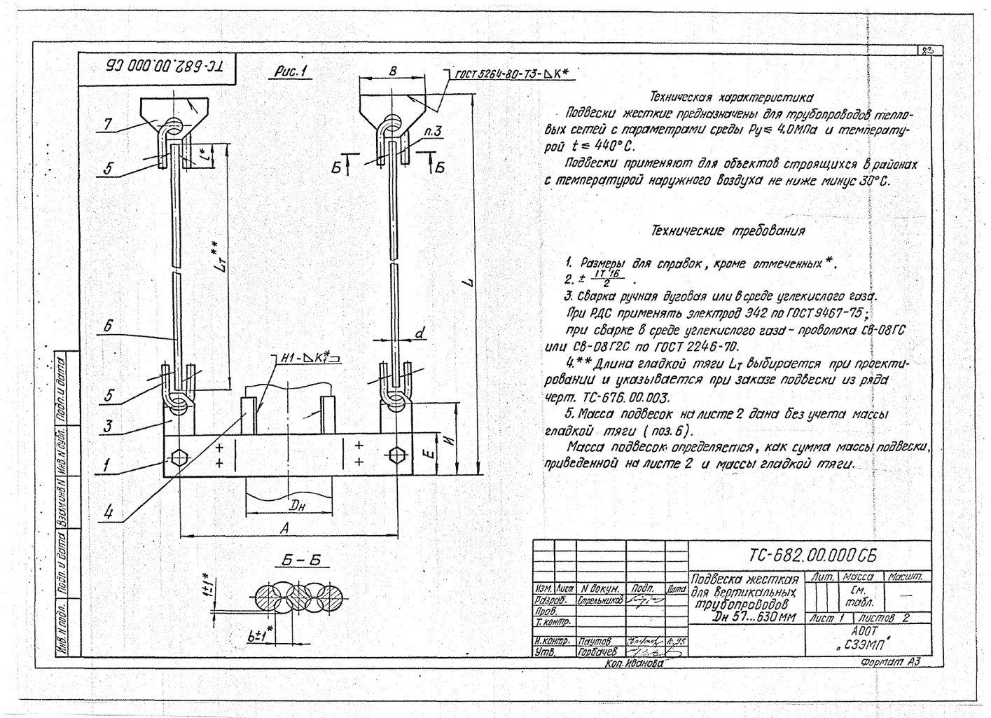 Подвески жесткие для вертикальных трубопроводов Дн 57-630 мм ТС-682.00.000 СБ серия 5.903-13 выпуск 6-95 стр.1