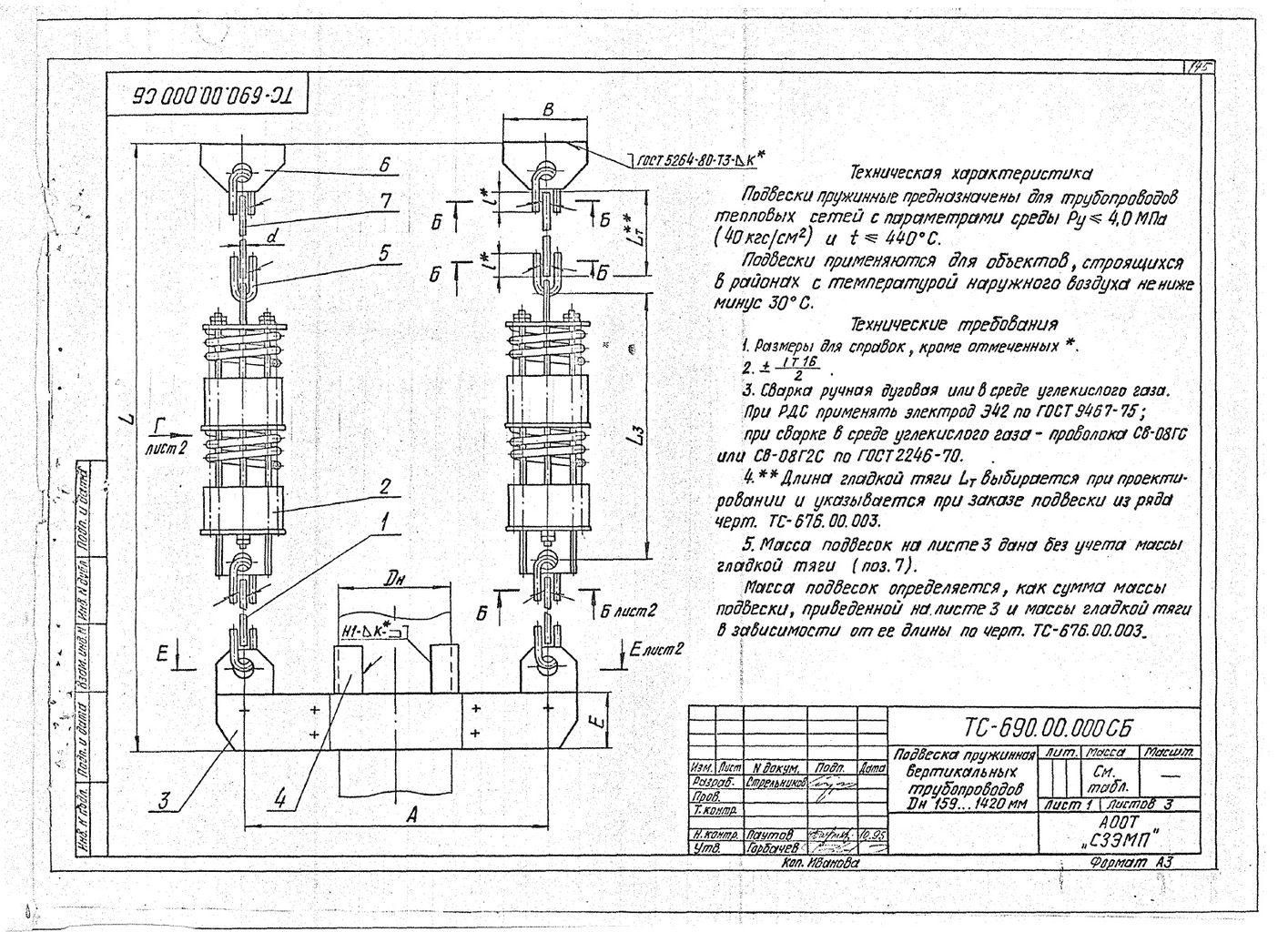 Подвески пружинные для вертикальных трубопроводов Дн 159-1420 мм ТС-690.00.000 СБ серия 5.903-13 выпуск 6-95 стр.1