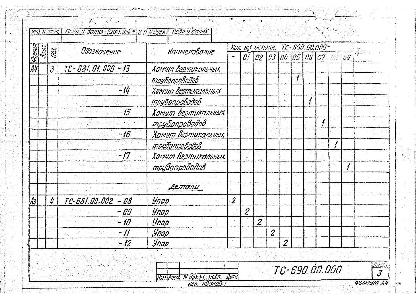 Подвески пружинные для вертикальных трубопроводов Дн 159-1420 мм ТС-690.00.000 СБ серия 5.903-13 выпуск 6-95 стр.6