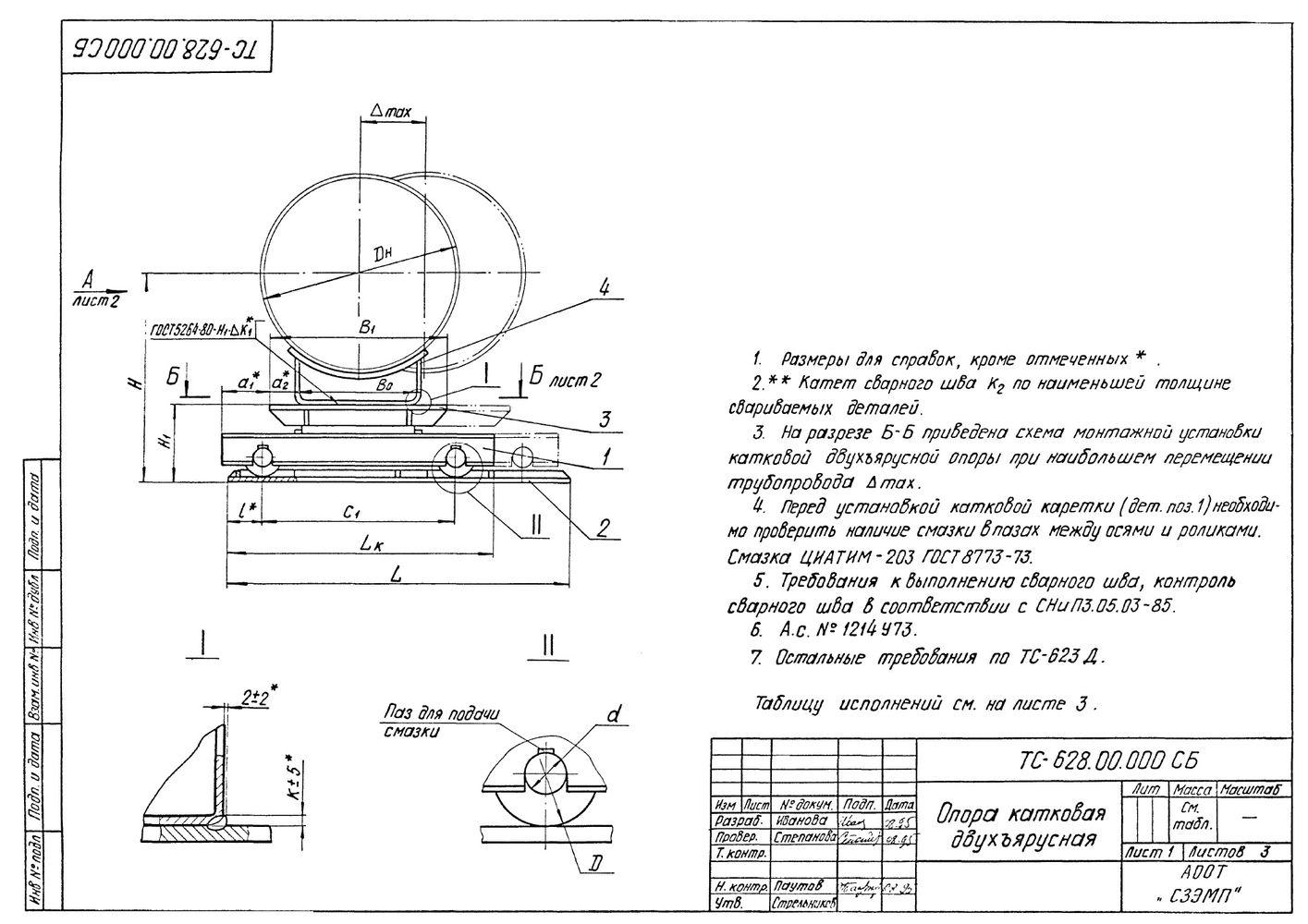 Опора катковая двухъярусная Дн194-1420мм ТС-628.00.000 серия 5.903-13 выпуск 8-95 стр.1