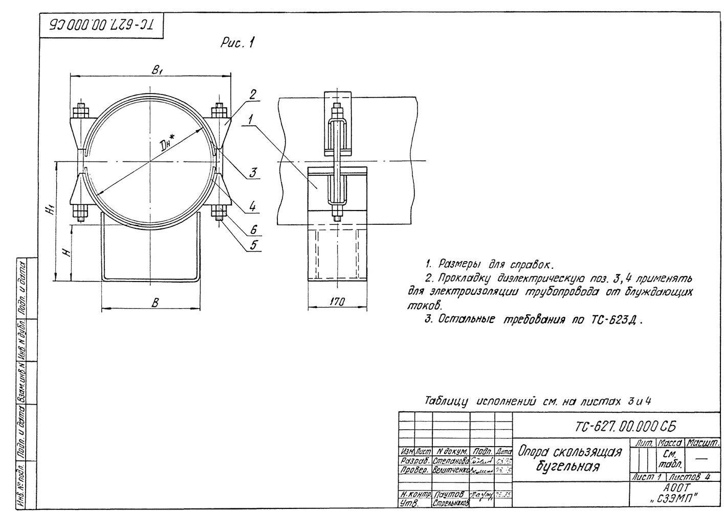 Опора скользящая бугельная ТС-627.00.000 серия 5.903-13 выпуск 8-95 стр.1