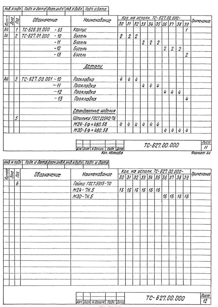 Опора скользящая бугельная ТС-627.00.000 серия 5.903-13 выпуск 8-95 стр.10