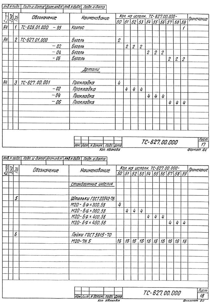 Опора скользящая бугельная ТС-627.00.000 серия 5.903-13 выпуск 8-95 стр.13