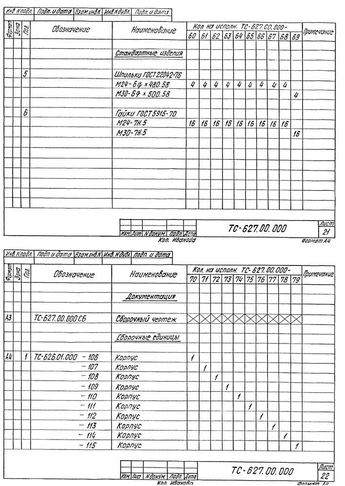 Опора скользящая бугельная ТС-627.00.000 серия 5.903-13 выпуск 8-95 стр.15