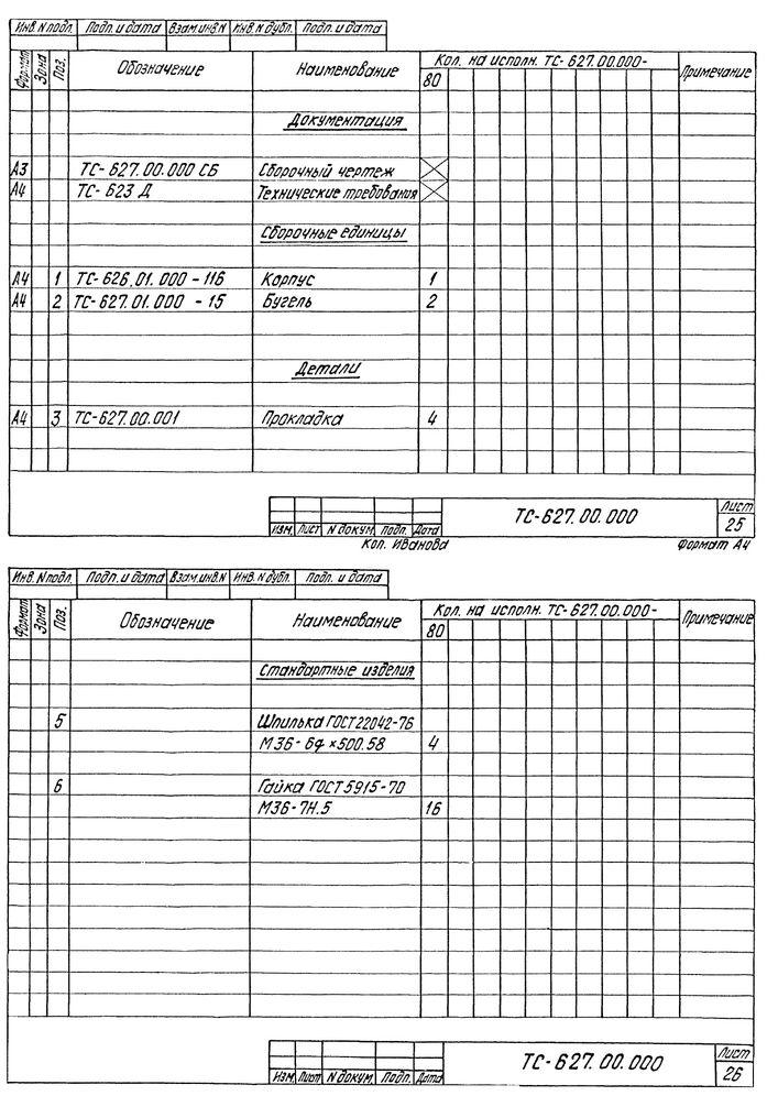 Опора скользящая бугельная ТС-627.00.000 серия 5.903-13 выпуск 8-95 стр.17