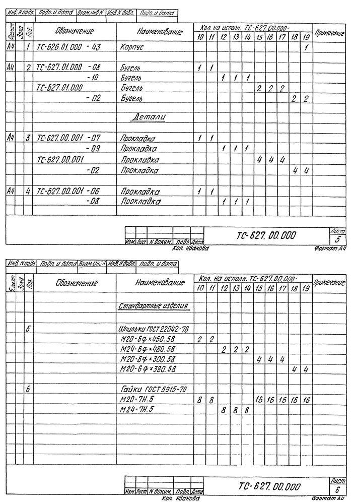 Опора скользящая бугельная ТС-627.00.000 серия 5.903-13 выпуск 8-95 стр.7