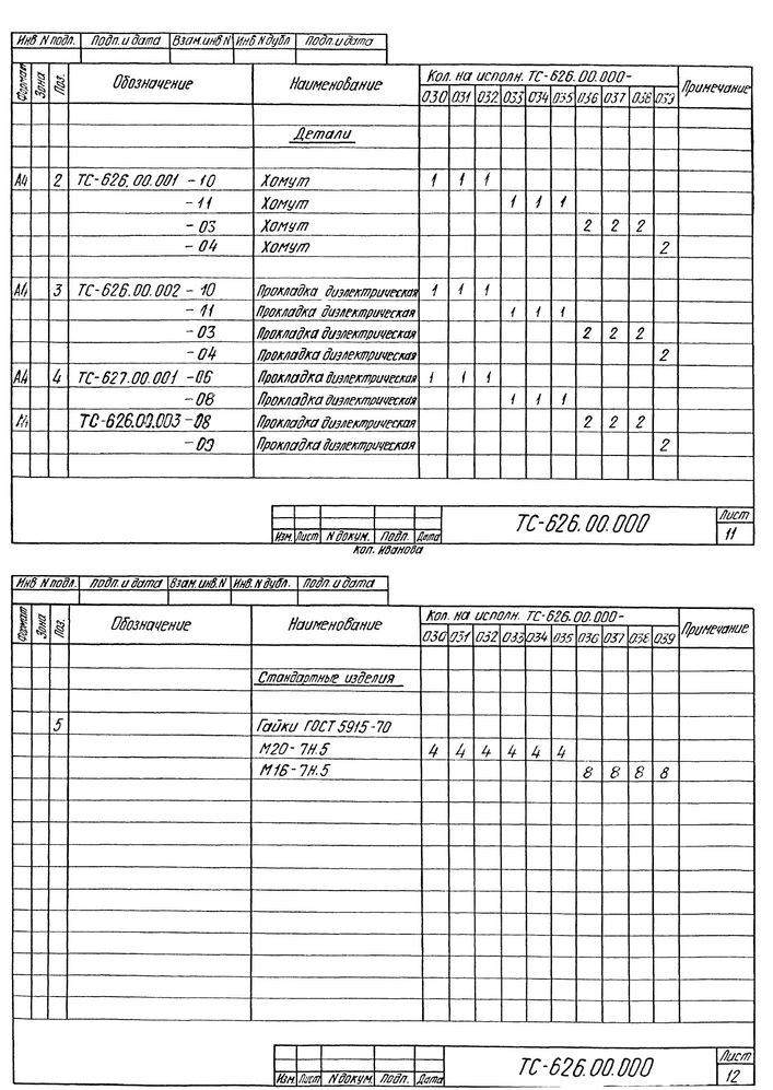 Опора скользящая хомутовая ТС-626.00.000 серия 5.903-13 выпуск 8-95 стр.11