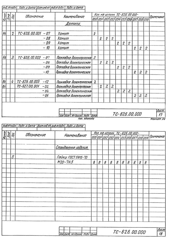Опора скользящая хомутовая ТС-626.00.000 серия 5.903-13 выпуск 8-95 стр.14