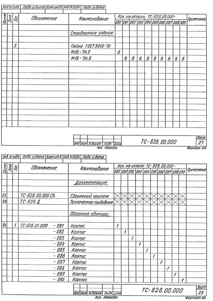 Опора скользящая хомутовая ТС-626.00.000 серия 5.903-13 выпуск 8-95 стр.19