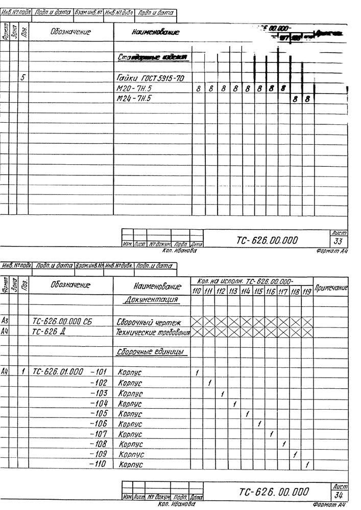 Опора скользящая хомутовая ТС-626.00.000 серия 5.903-13 выпуск 8-95 стр.22