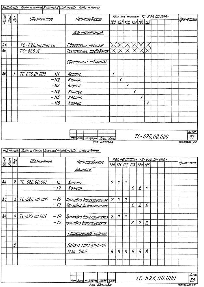 Опора скользящая хомутовая ТС-626.00.000 серия 5.903-13 выпуск 8-95 стр.24