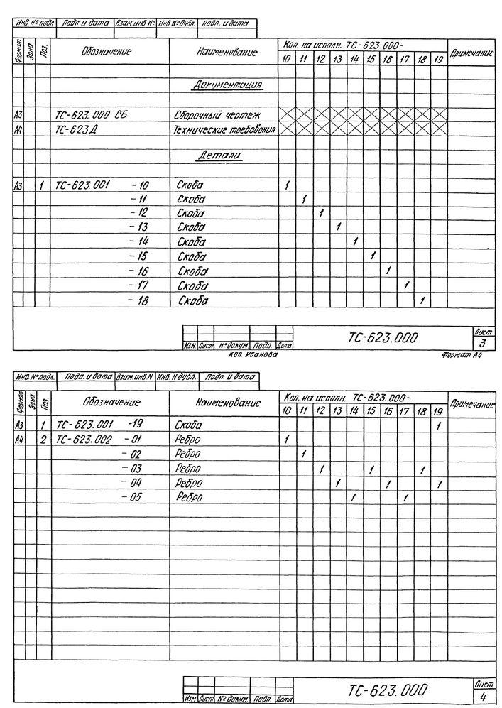 Опора скользящая приварная ТС-623.000 серия 5.903-13 выпуск 8-95 стр.3