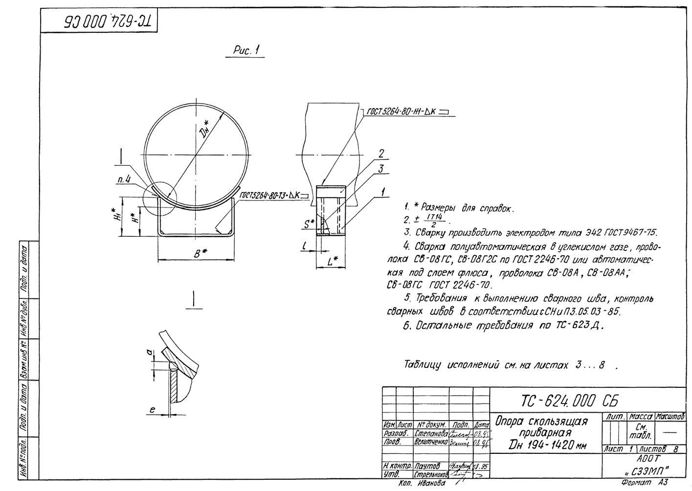 Опора скользящая приварная ТС-624.000 серия 5.903-13 выпуск 8-95 стр.1