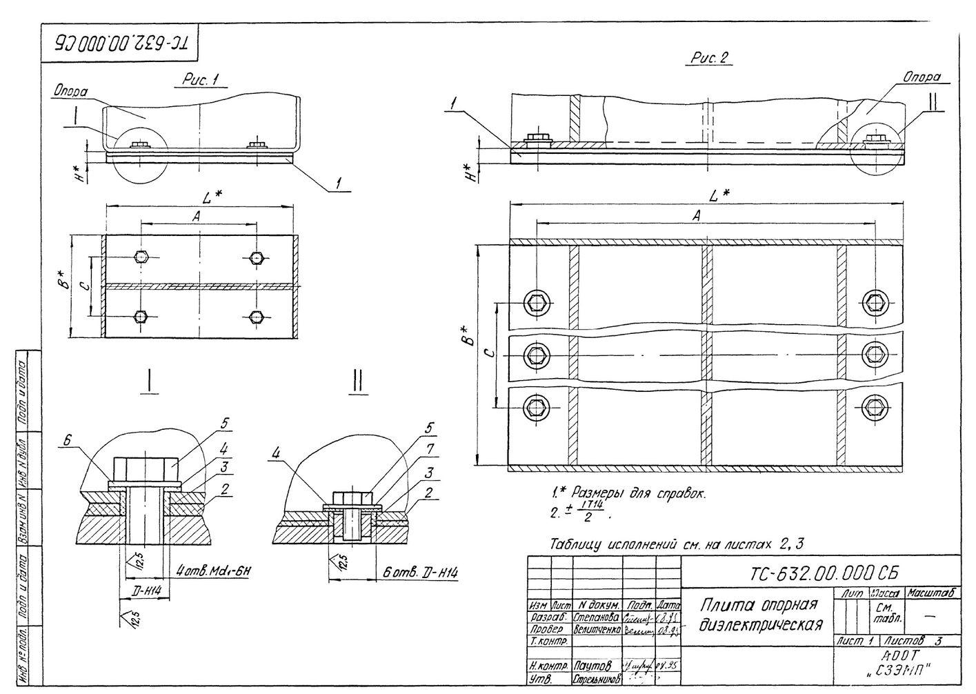 Плита опорная диэлектрическая ТС-632.00.000 серия 5.903-13 выпуск 8-95 стр.1