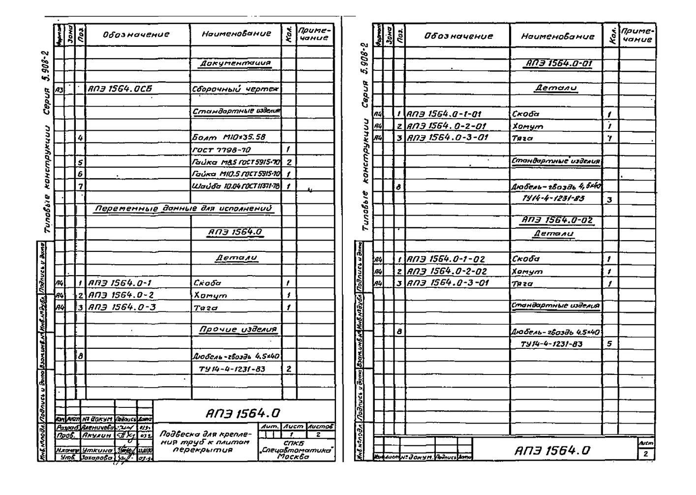 Подвеска АПЭ 1564.0 серия 5.908-2 стр.2