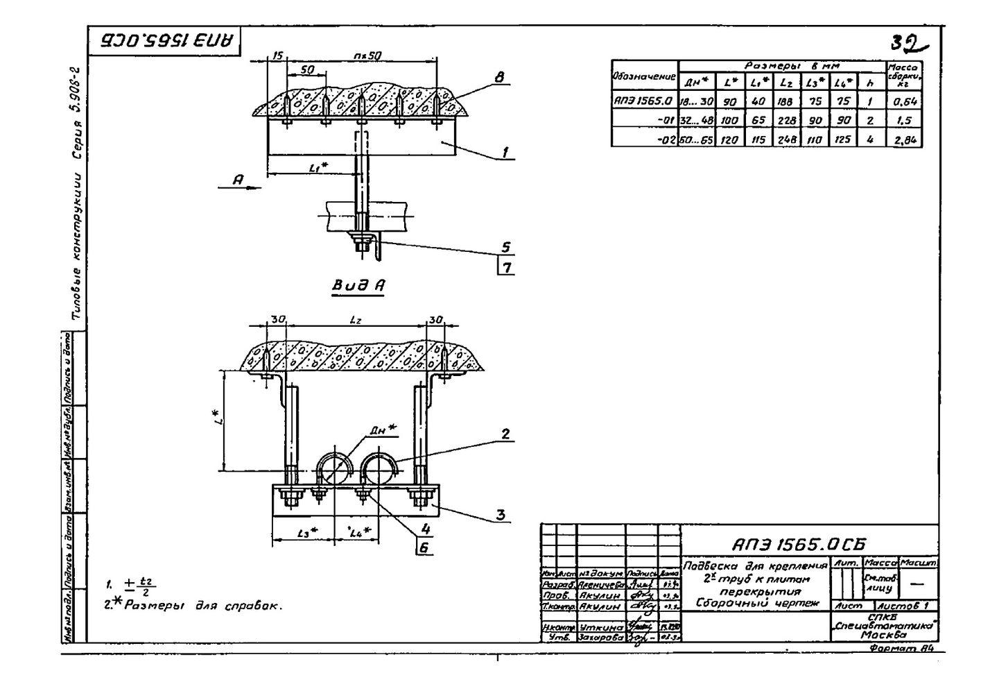 Подвеска АПЭ 1565.0 серия 5.908-2 стр.1