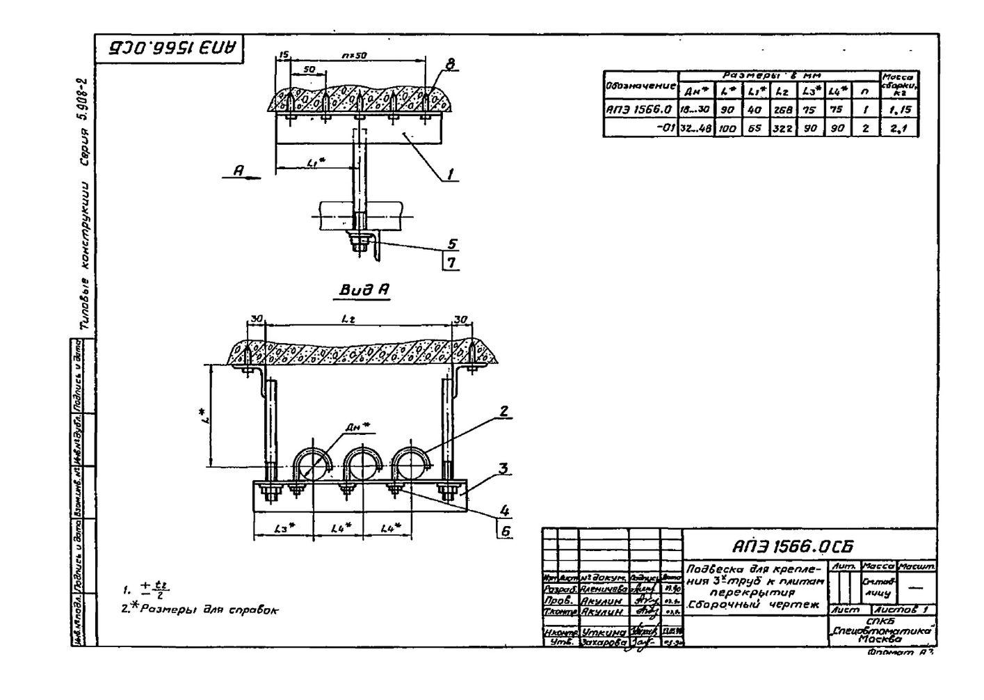 Подвеска АПЭ 1566.0 серия 5.908-2 стр.1