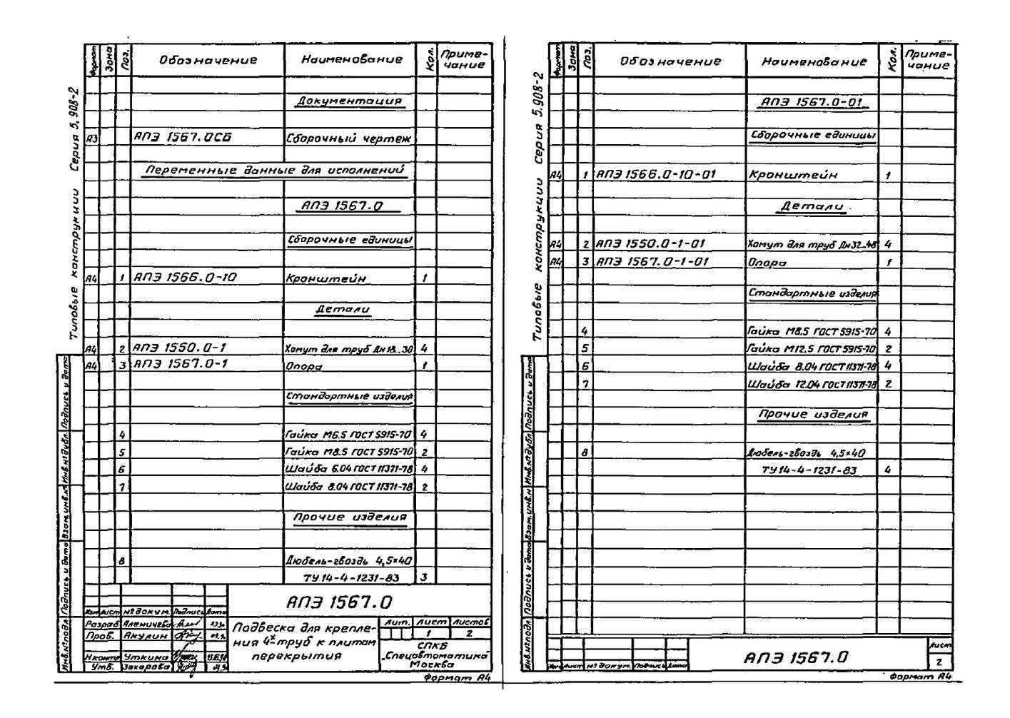 Подвеска АПЭ 1567.0 серия 5.908-2 стр.2