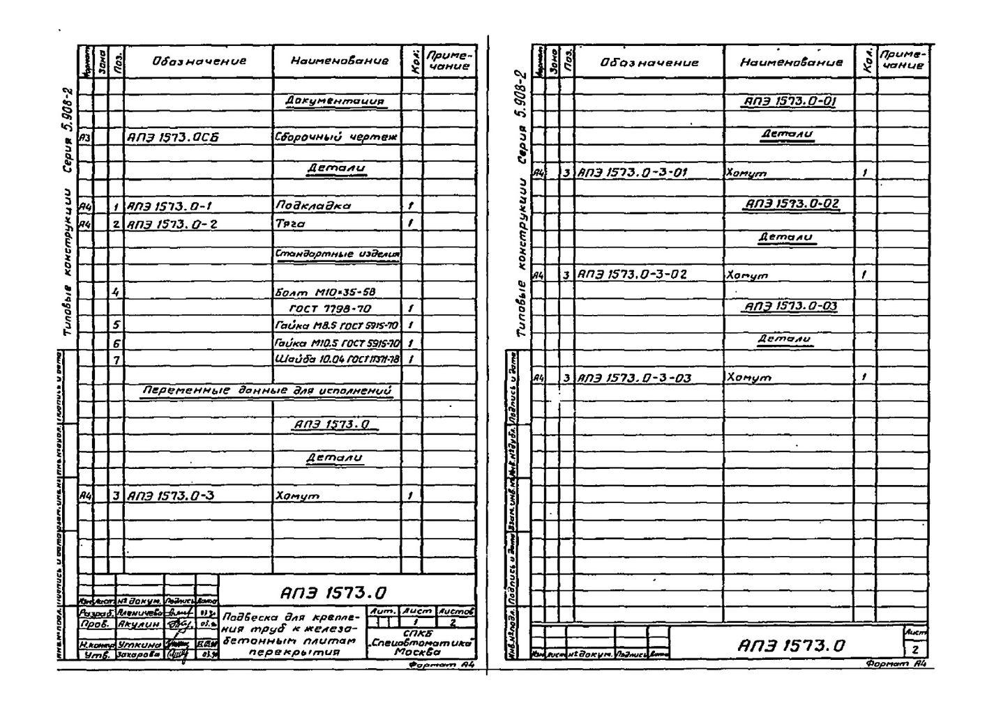 Подвеска АПЭ 1573.0 серия 5.908-2 стр.2