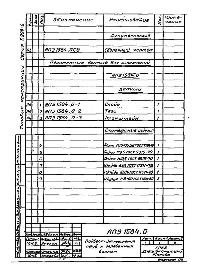 Подвеска АПЭ 1584.0 серия 5.908-2 стр.2