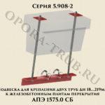 Подвеска для крепления двух труб Дн 18-219 мм к железобетонным плитам перекрытия АПЭ 1575.0 серия 5.908-2