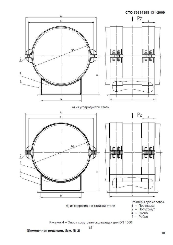 Опоры хомутовые скользящие, неподвижные и направляющие СТО 79814898 131-2009 стр.13