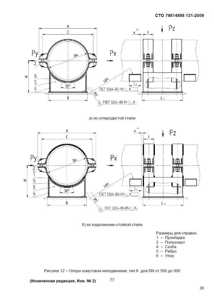 Опоры хомутовые скользящие, неподвижные и направляющие СТО 79814898 131-2009 стр.23
