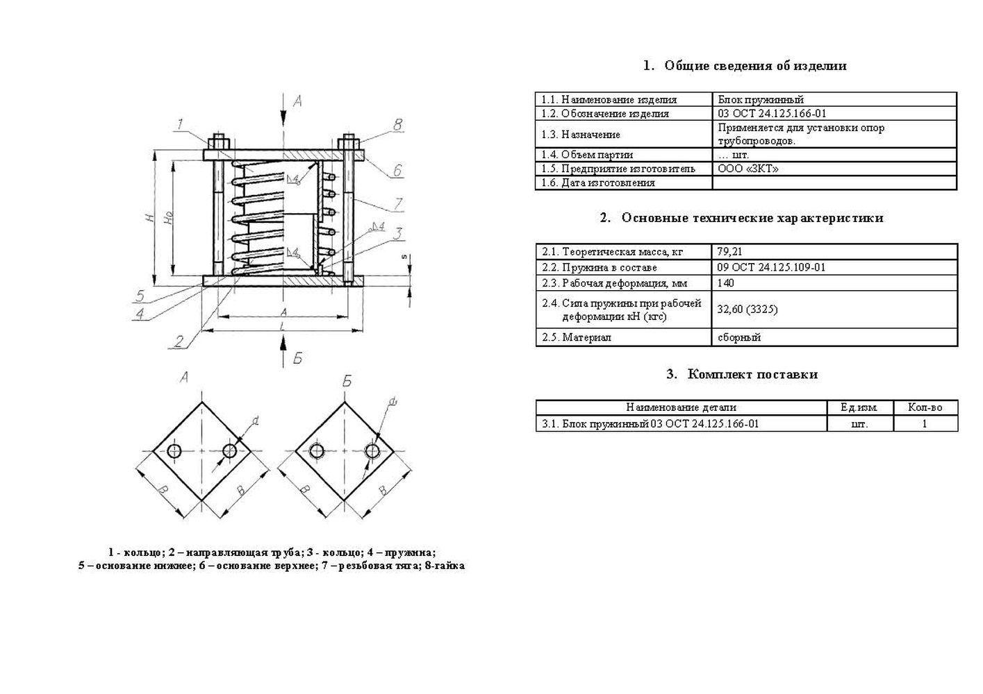 Паспорт Блок пружинный 03 ОСТ 24.125.166-01 стр.2