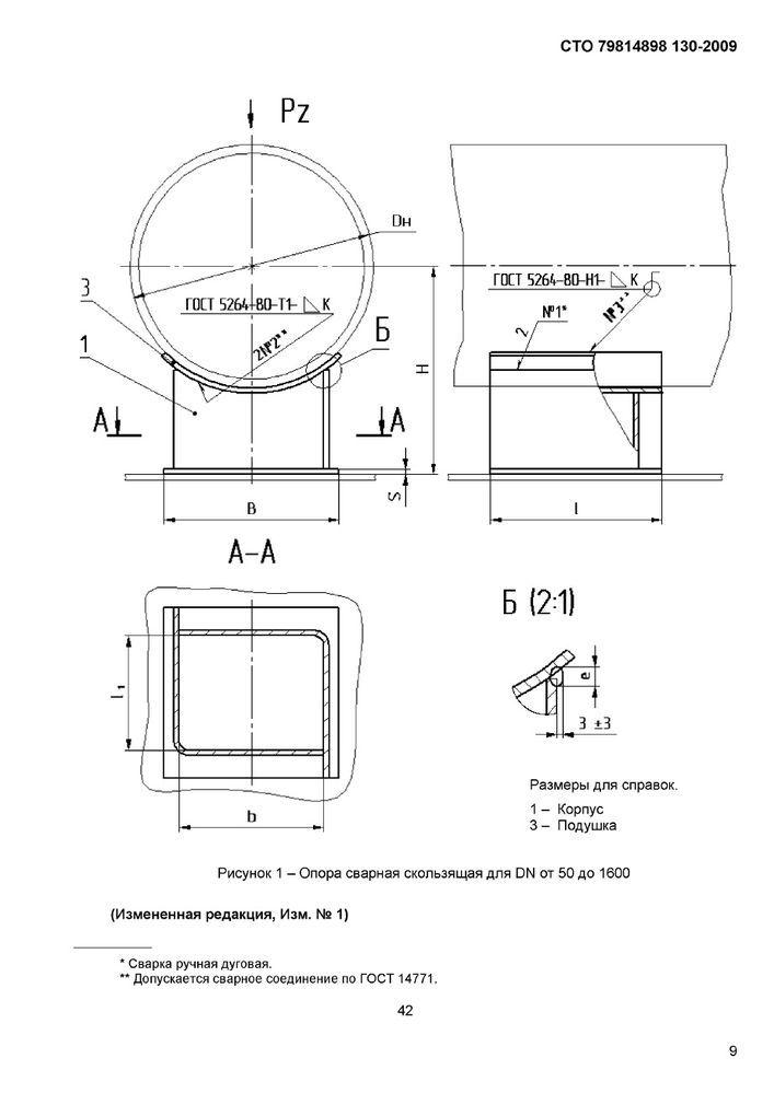 СТО 79814898 130-2009 Опоры сварные скользящие, неподвижные и направляющие стр.12