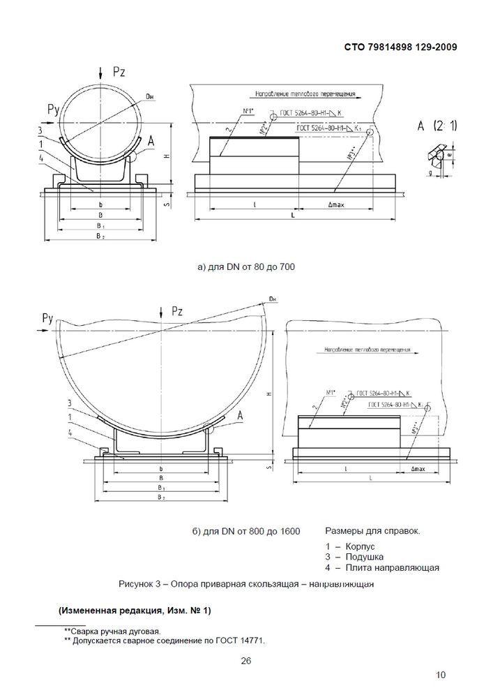 СТО 79814898 129-2009 Опоры приварные скользящие, неподвижные и направляющие стр.13
