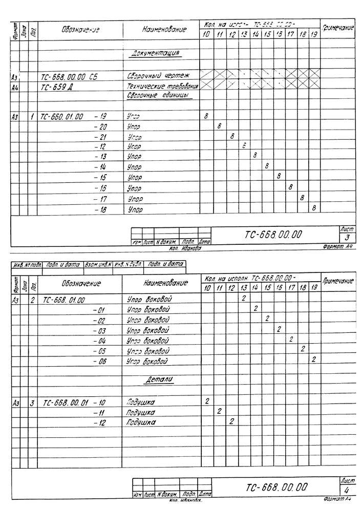 Опора неподвижная боковая ТС-668.00.00 серия 5.903-13 выпуск 7-95 стр.5