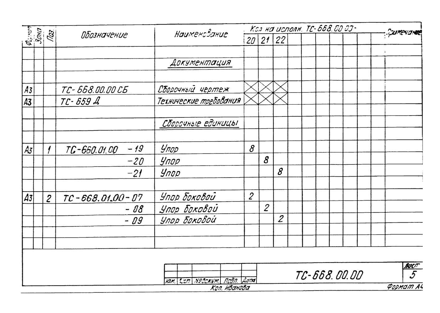 Опора неподвижная боковая ТС-668.00.00 серия 5.903-13 выпуск 7-95 стр.6